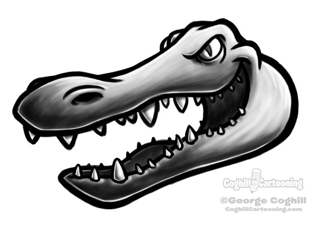 Alligator head cartoon character sketch