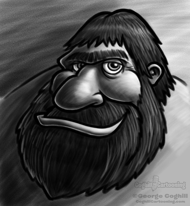 Caveman Head Cartoon Character Sketch