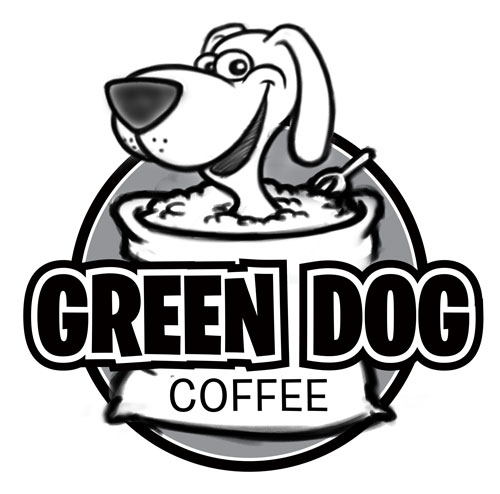 Green Dog Coffee carton logo sketch