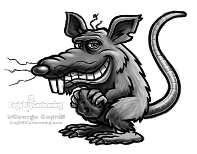 Rat cartoon character sketch.
