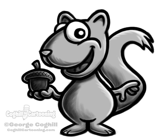 Squirrel cartoon character sketch by George Coghill