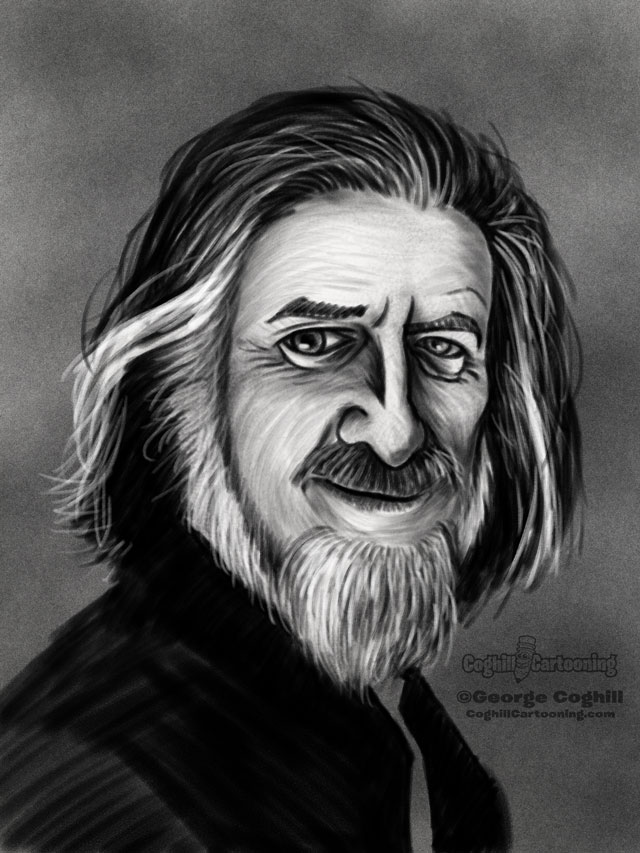 Alan Watts Cartoon Portrait 3 Sketch