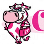 Curvy Cow cartoon logo of pink cow by George Coghill