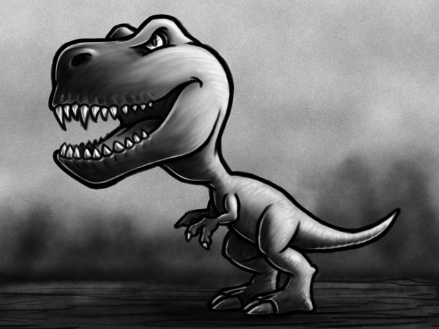 Dinosaur 1 - T-Rex Cartoon Character Sketch