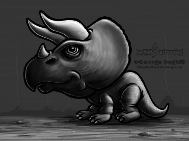 Dinosaur 3 Triceratops Cartoon Character Sketch