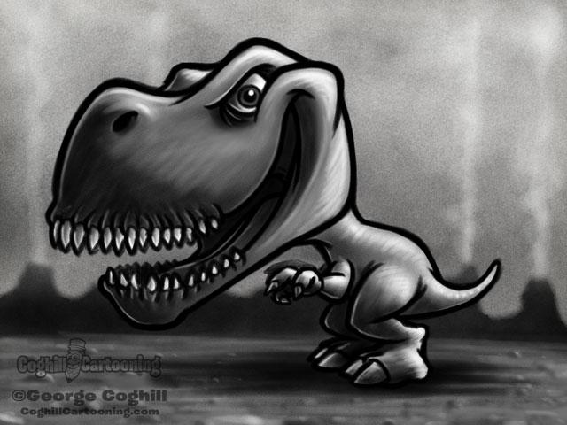 Dinosaur 4: Tyrannosaurus Rex Cartoon Character Sketch
