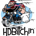 HDBitchin cartoon biker hot rod motorcycle cartoon logo.