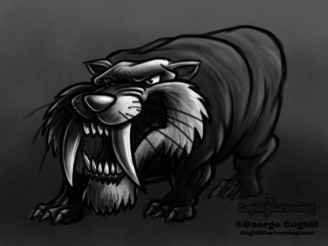 Saber-Toothed Tiger 2 Cartoon Character Sketch