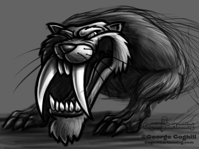 Saber-Toothed Tiger 3 Cartoon Character Sketch