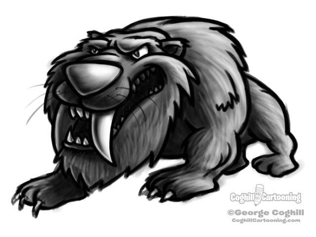 Saber Toothed Tiger Cartoon Character Sketch