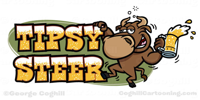 Tipsy Steer drunk bull beer cartoon logo Coghill
