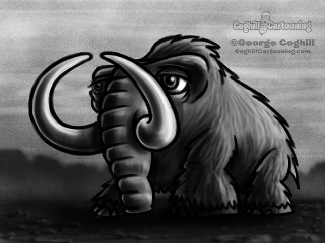 Wooly Mammoth 2 Cartoon Character Sketch