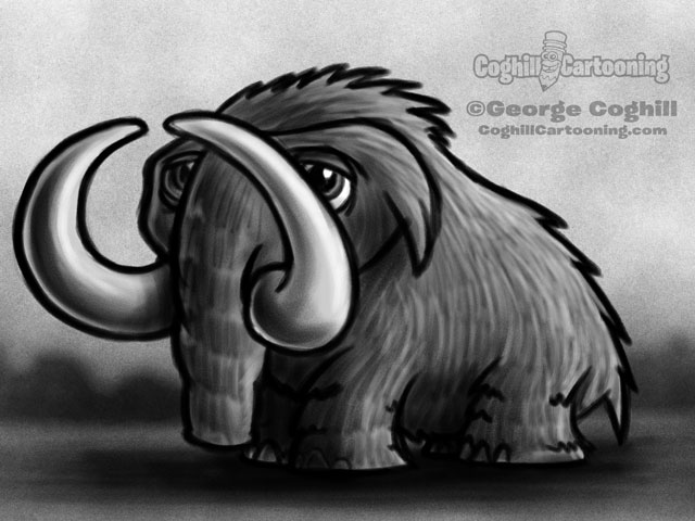 Wooly Mammoth 3 Cartoon Character Sketch