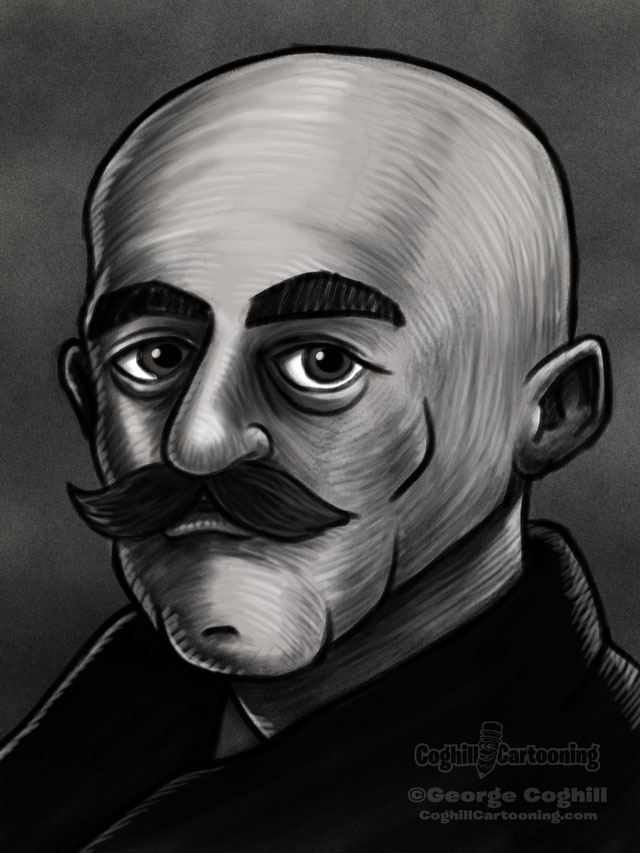 Gurdjieff Cartoon Portrait Sketch