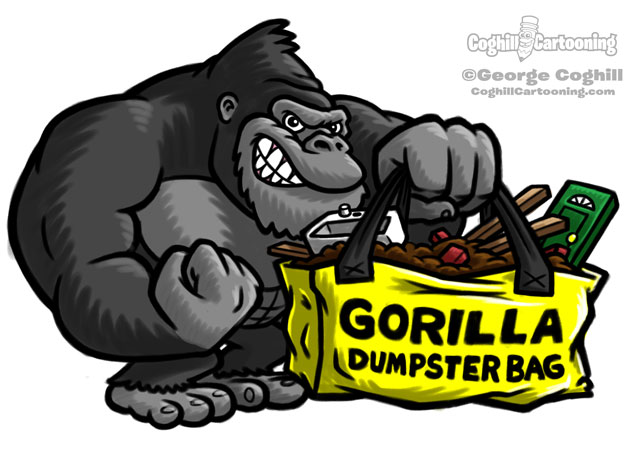 Gorilla Dumpster Bags Cartoon Character Logo Sketch