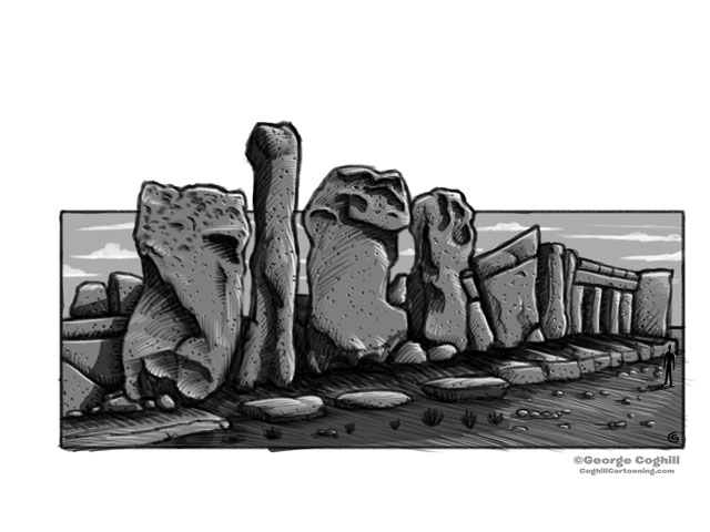 Hagar Qim Malta Megalithic Temple Cartoon Sketch