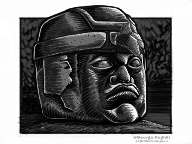 Olmec Head Statue Sculpture Mexico Cartoon Sketch 2