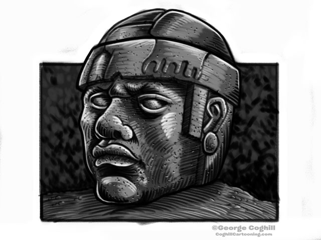 Olmec Head Statue Sculpture Mexico Cartoon Sketch 3