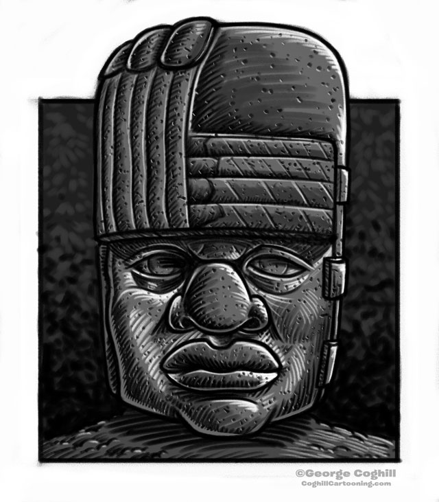 Olmec Head Statue Sculpture Cartoon Sketch 4
