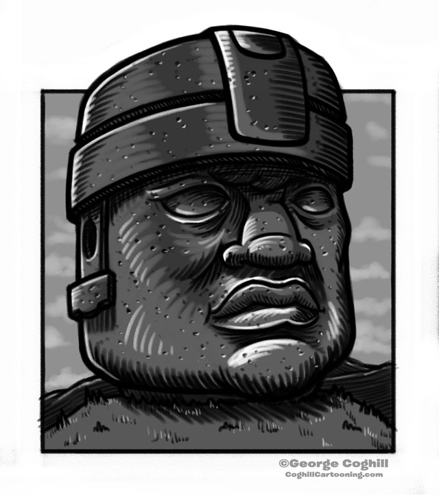 Olmec Head Statue Sculpture Mexico Cartoon Sketch
