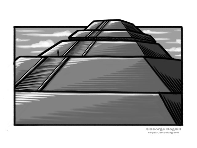 Pyramid Of The Sun Teotihuacan Cartoon Sketch