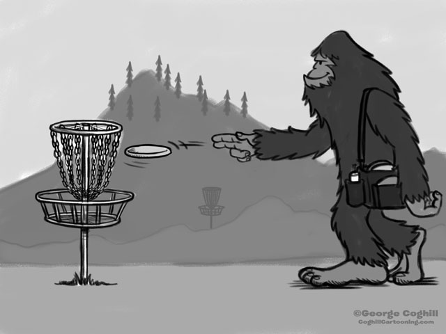 Bigfoot Disc Golf Cartoon Sketch