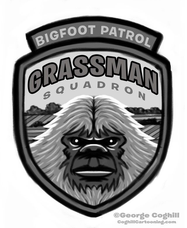 """Grassman Squadron: Bigfoot Patrol"" Park Ranger Patch Cartoon Sketch"