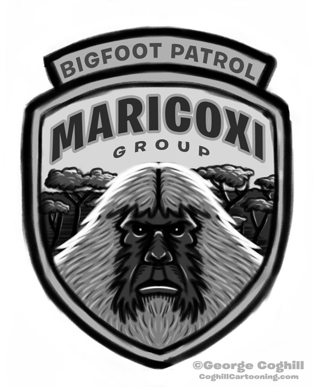 """Maricoxi Group: Bigfoot Patrol"" Park Ranger Patch Cartoon Sketch"