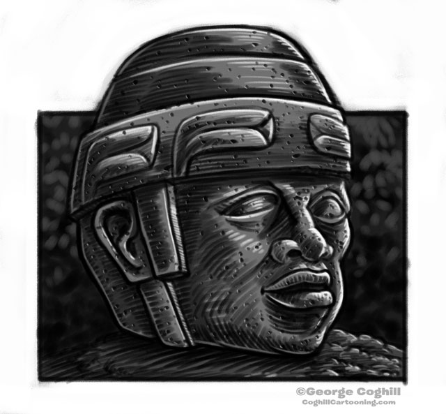 Olmec Colossal Head Statue Cartoon Sketch 6