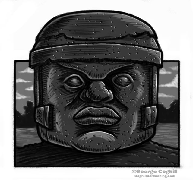 Olmec Colossal Head Statue Cartoon Sketch 8