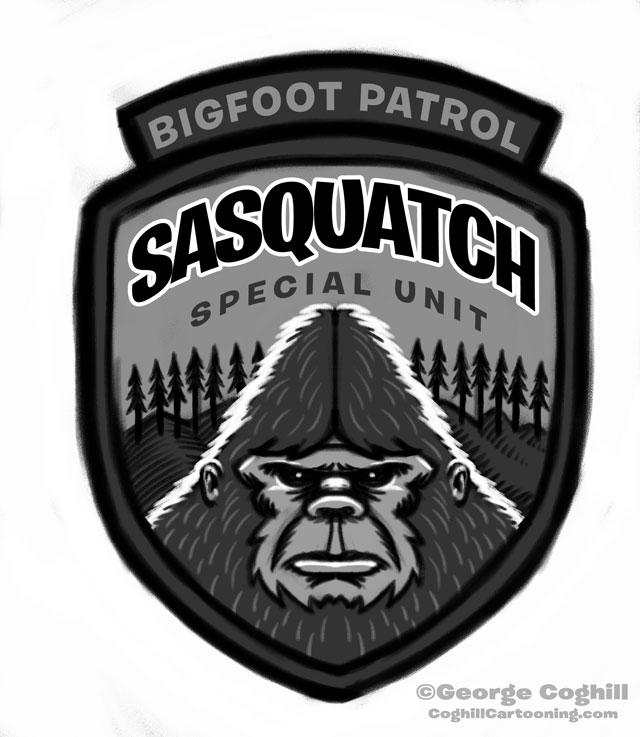 """Sasquatch Special Unit: Bigfoot Patrol"" Cartoon Park Ranger Patch Sketch"