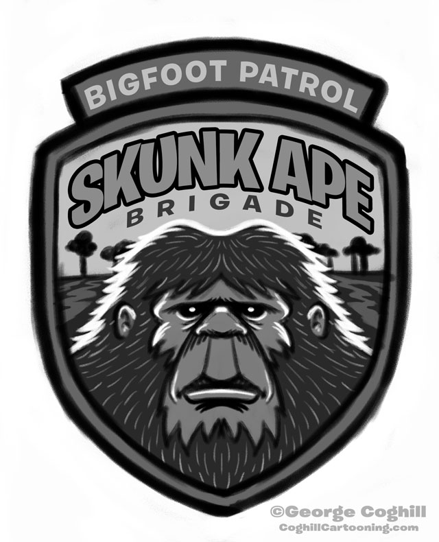 """Skunk Ape Brigade: Bigfoot Patrol"" Park Ranger Patch Cartoon Sketch"