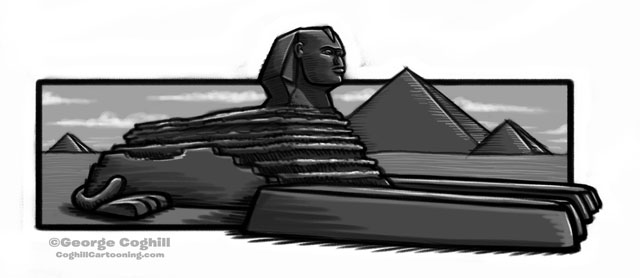 Sphinx in Egypt Cartoon Sketch 4
