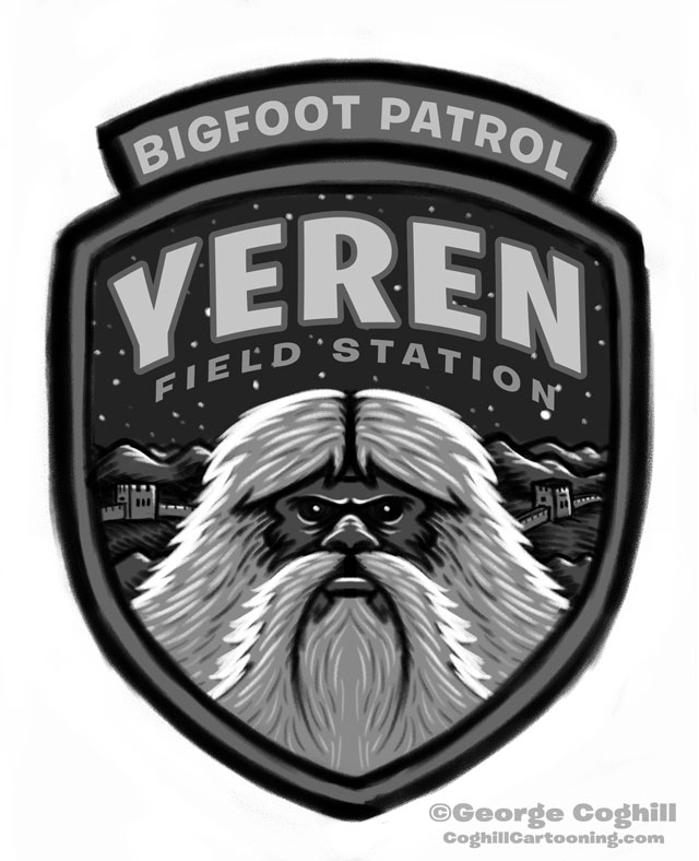 """Yeren Field Station: Bigfoot Patrol"" Patch Cartoon Sketch"