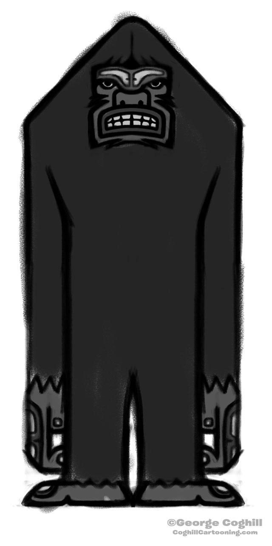 Bigfoot Totem Cartoon Sketch 01