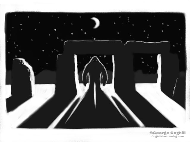 Bigfoot At Stonehenge Cartoon Sketch