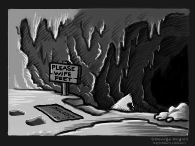"""""""Descent Into The Lair Of The Yeti"""" Cartoon Sketch"""