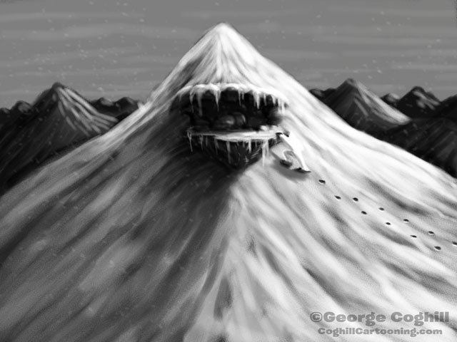 Arrival at the Mountain Lair Of The Yeti Cartoon Sketch