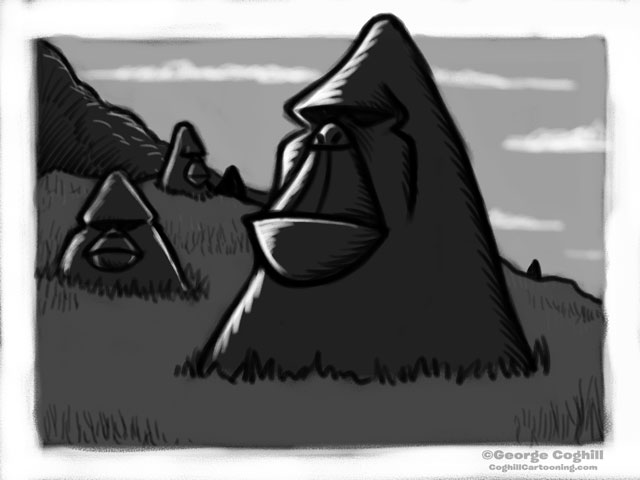 """Sasquatch Island"" Cartoon Sketch"
