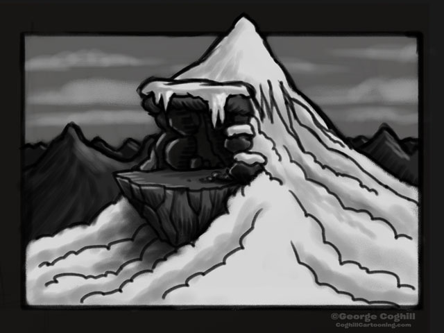 Yeti Himalayan Mountain Lair Entrance Cartoon Sketch