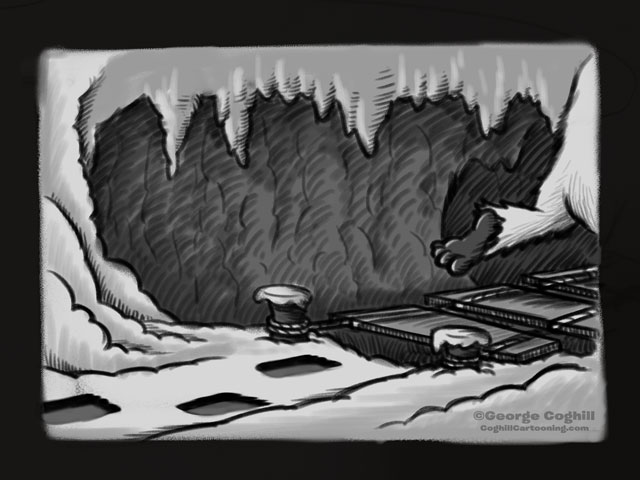 Yeti Lair: Rope Bridge Approach - Cartoon Sketch