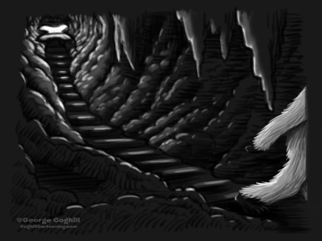 Yeti Lair: Further Descent Cartoon Sketch