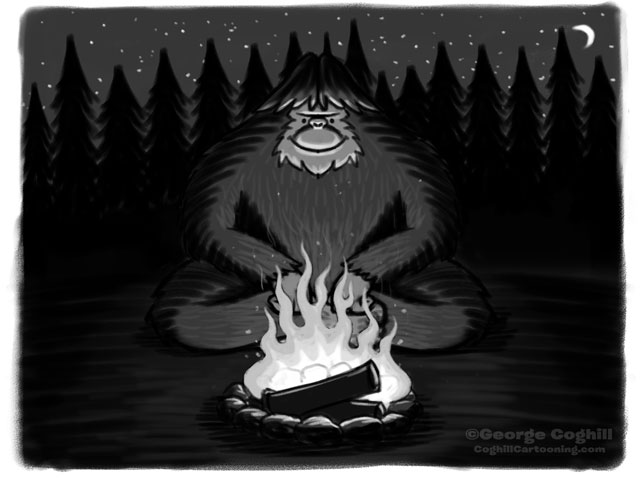 Bigfoot + Campfire Cartoon Sketch
