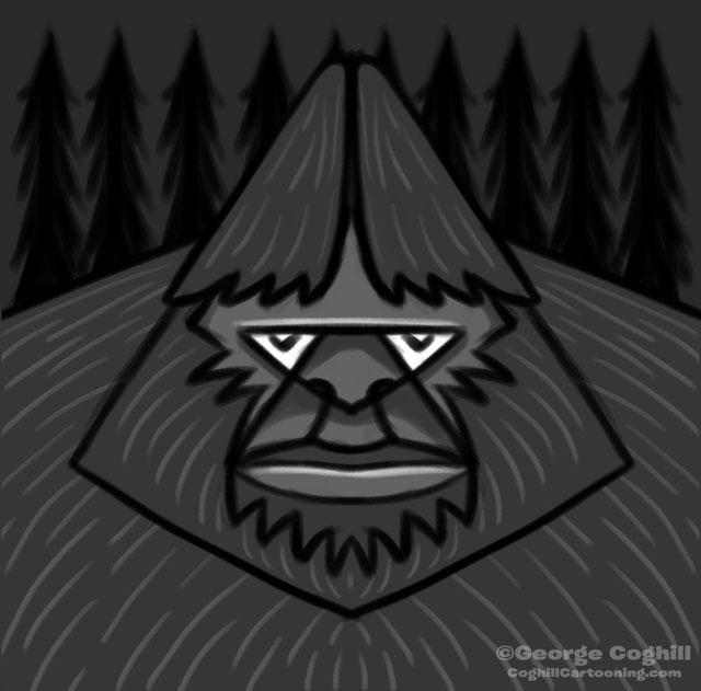 Bigfoot Geometric Head Cartoon Sketch