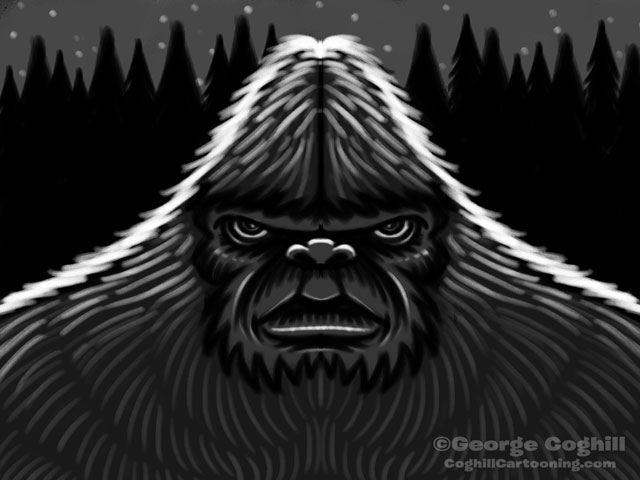 Bigfoot Head Cartoon Sketch