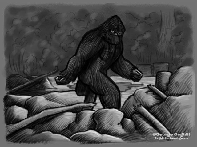 "Bigfoot ""Classic"" Pose Cartoon Sketch"