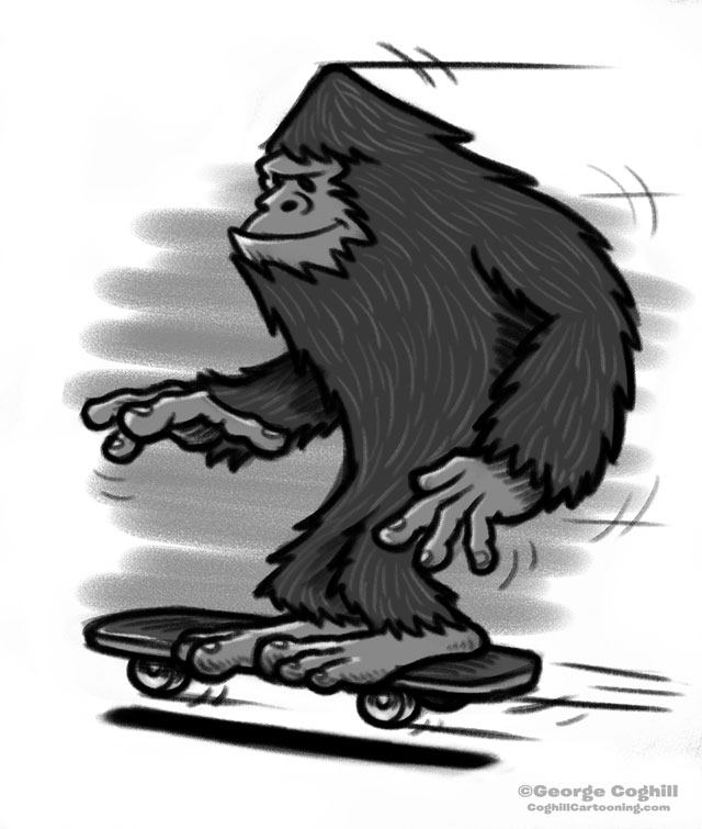 Bigfoot Skateboarding Cartoon Sketch