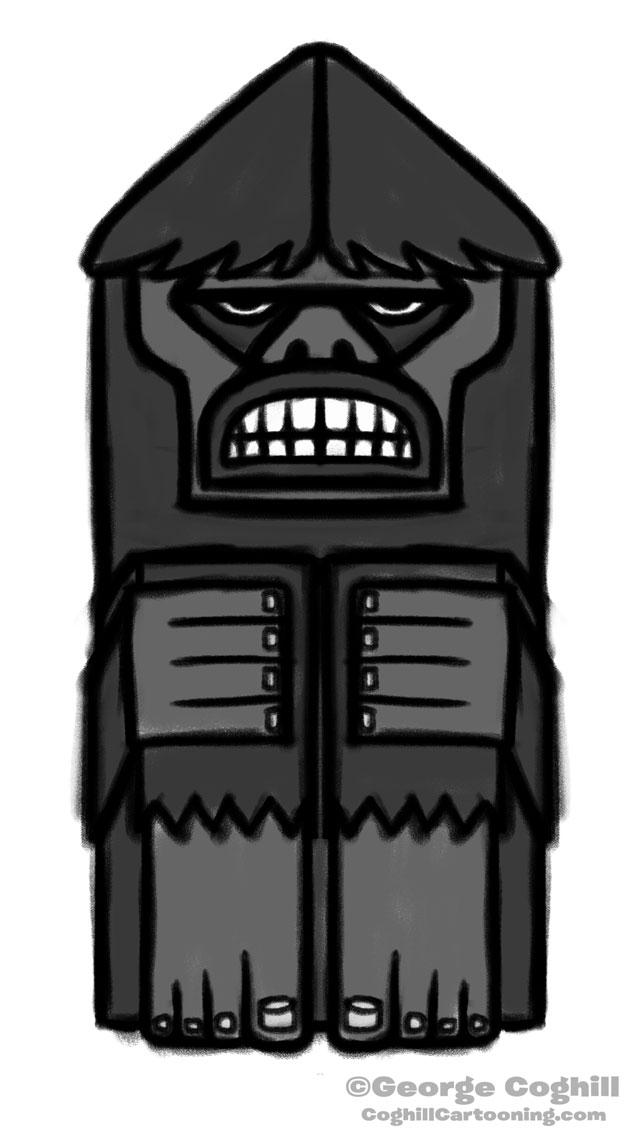 Bigfoot Totem Cartoon Sketch 02