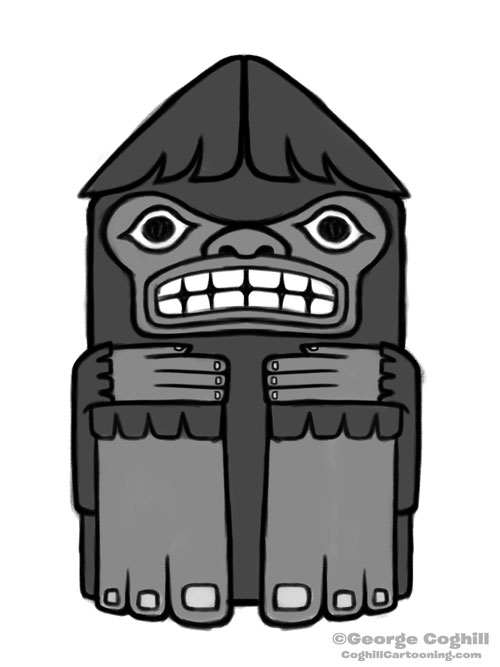 Bigfoot Totem Cartoon Sketch 03