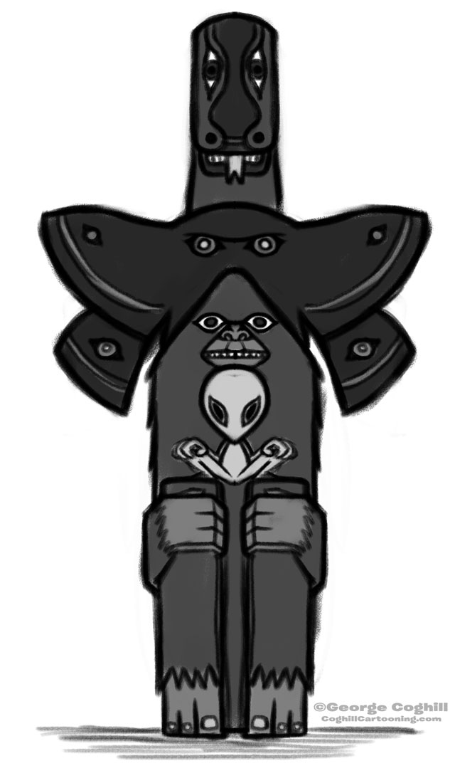 Cryptid Totem Pole Cartoon Sketch 01